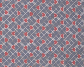 Vintage Heart Cotton Fabric Blue with Rose Pink Hearts 1980's Material Fat Quarter