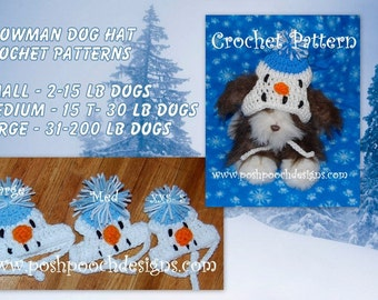 Instant Download CROCHET PATTERN BUNDLE - Snowman dogs  Small, Medium and Large Dog Beanie dog Hat