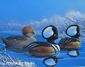 Duck Print, Hooded Merganser, Birds, Winter Scene, Acrylic, Wildlife Art, Ducks, Hunting, Wall Decor, Home Decor, Gifts, Waterfowl, Painting