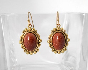Goldstone Earrings with Antique Gold Setting
