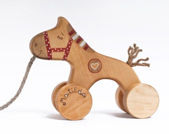 Personalized Wooden Toy, Red Wooden Horse, Pull Toy, Pull Horse