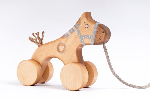 Wooden Toy, eco-friendly pull blue horse toy