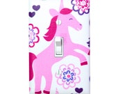 Unicorn Princess Light Switch Plate Cover / Girls Room Bedroom Decor / Nursery Make Believe Pink White Purple