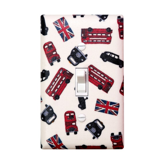 London England Light Switch Plate Cover / British Invasion Double Decker Red Bus Taxi Union Jack / Kitchen / Bathroom / Kids Girls Room