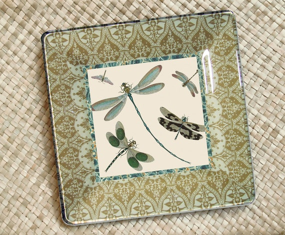 Dragonfly - mothers day gift - botanical print - decorative plate - decoupage wall hanging - cottage decor - green