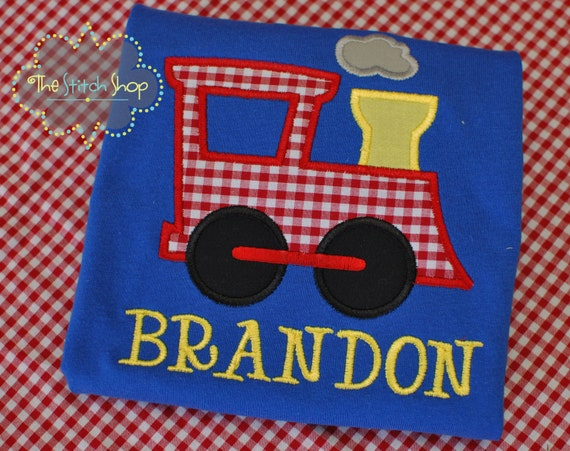Boy's Appliqed and Monogrammed Train Shirt / Birthday Shirt