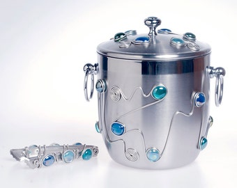 Stainless Steel Bucket w/ Matching Tongs.