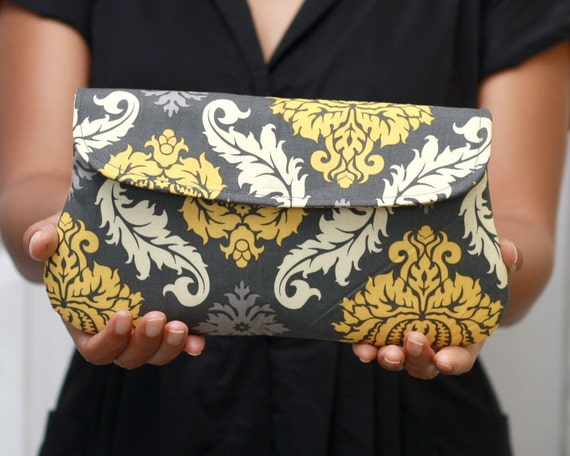 Wedding Clutch/ Bridesmaid Gift Damask in yellow and gray