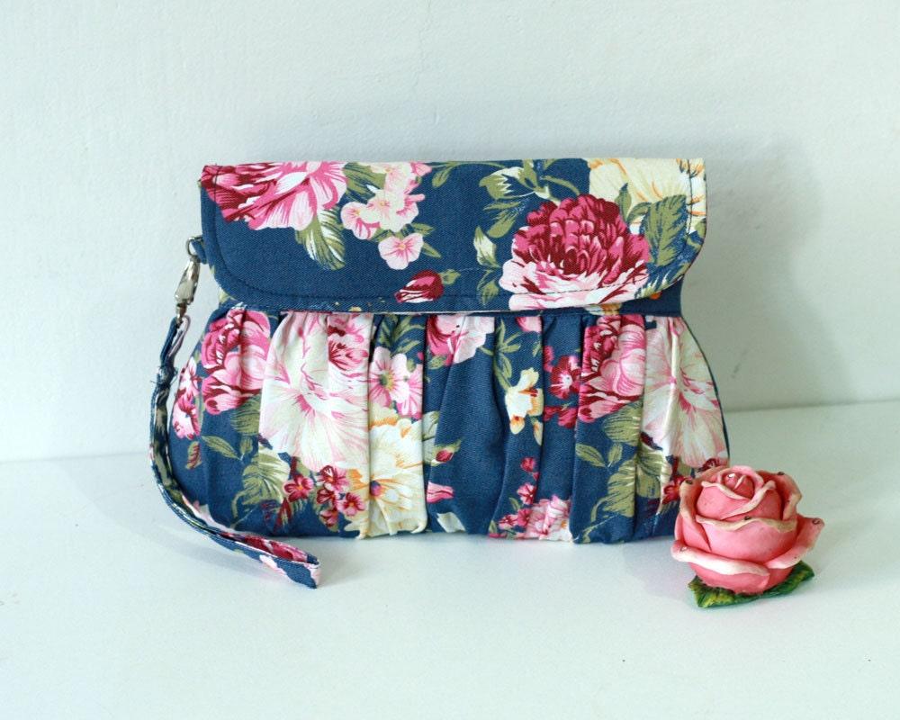 Dark Blue Floral Clutch Rose Clutch Purse