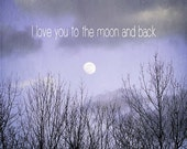 Moon Photography Love You to the Moon and Back Nursery Decor Surreal Dreamy Photo Purple Lavender Pastel 10x10 Fine Art Print