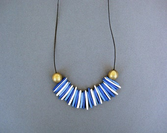 Blue and White Necklace,  Coconut  Necklace, Spikes Necklace