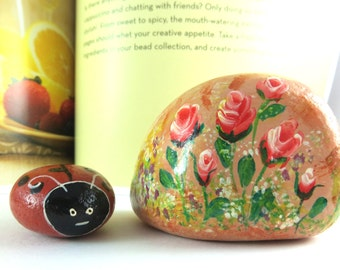 Set of Handpainted Rocks With Pink Roses And Ladybug