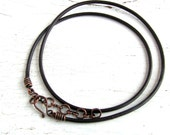 Dark Brown Leather Cord Necklace with Antiqued Copper Clasp