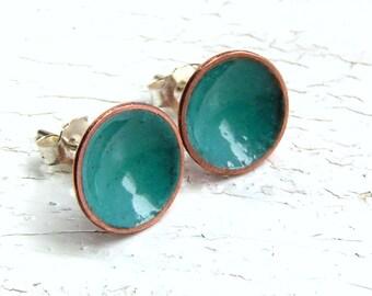 Turquoise Enamel Stud Earrings, Enamel on Copper, Sterling Posts