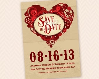 Printable Steampunk Gears Save the Date - Custom Colors Available