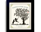Unique Wedding Gift Art Personalized Bridal Shower Tree Art Print