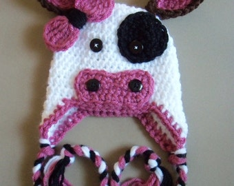 Crochet Cow Hat, Baby Cow Hat, Baby Girl Hat, Newborn Hat - Made To Order
