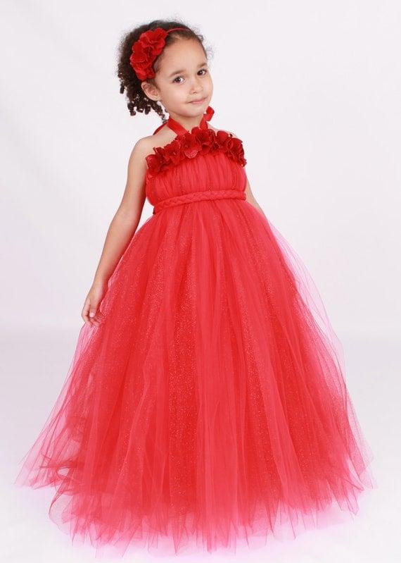 Flower Girl Tutu Dress - Red - Blazing Beauty - 12 Month to 2 Toddler Girl - Cutie Patootie Designz