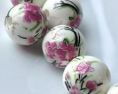 """12 mm Hot Pink Orchid """"Chinese Painting"""" Porcelain Beads (.am)"""