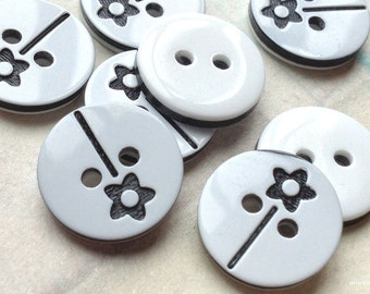 12 mm Black Acrylic Fairy Stick Pattern Buttons (.mn)