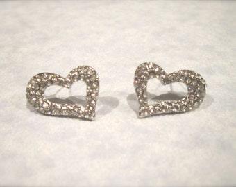 Silver Rhinestone Crystal Heart Stud Earrings