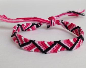 Pink & White Ombre with Black Zig Zag - Friendship Bracelet