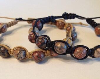 Leopard Jasper Stone Beads on Tan or Black Waxed Cotton Bracelet