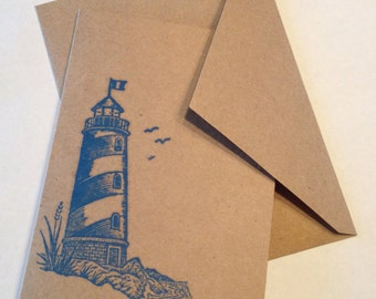 Lighthouse - Blue, Purple, Green & Red - Set of 4 Brown Cards