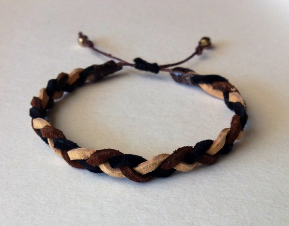 CLEARANCE - Brown, Tan, & Black Braided Suede Bracelet