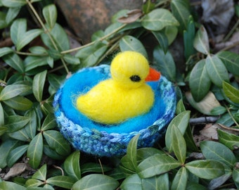 Needle Felted Yellow Ducky In Pond, Handmade Easter Gift, Felted Animals