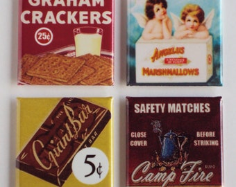 Smores Ingredients Fridge Magnet Set