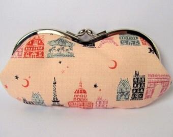 Glasses case Metal frame kiss lock purse Eyeglass case Paris Eiffel tower Pink Grey Pastel Romantic