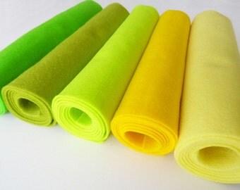 Felt rolls, felt sheets, felt squares, 5 pieces, size 25cm x 45cm