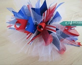 Fourth of July Funky Bow Red White Blue Patriotic Summer Labor Day