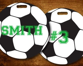 Soccer Ball Personalized Bag/Luggage Tag - set of 5