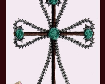 Vintage stitch Cross Applique design