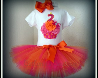 3D Birthday Cupcake Tutu Set- Orange and Pink