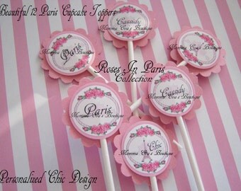 Momma Eva's -- (12)  Roses In Paris Collection Cupcake Toppers //  Birthday  Baby  Bridal Shower / Keepsakes // Personalized Decorations