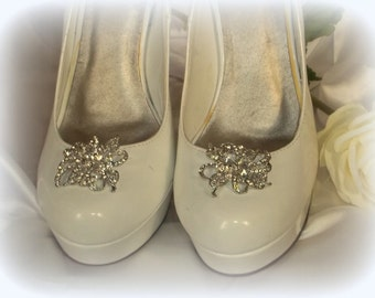 Wedding Shoe Clips Vintage Style Clear Rhinestone Shoe Clips Bridal Wedding  Silver Shoes Clips - set of 2 -
