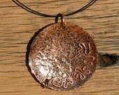 Round Copper Pendant Textured Pendant Necklace Unique Pendant Copper Necklace Funk Cool Pendant