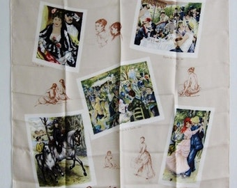 "BACCARA Rare Vintage Large Silk Scarf w/Famous French Art Frames ""Renoir"" Made in France"