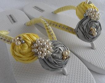 Yellow & Gray Bridal Flip Flops / Wedding colors Flip Flops / Beach Flip Flops / Bridesmaid flip flops