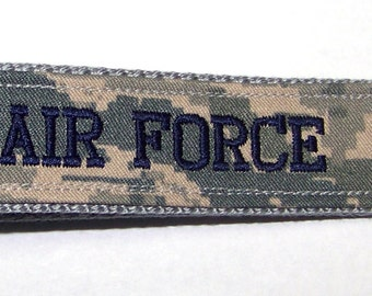 Personalized Air Force ABU Embroidered Custom Key Fob, Wristlet Key Chain, Luggage Tag, Military Key Fob