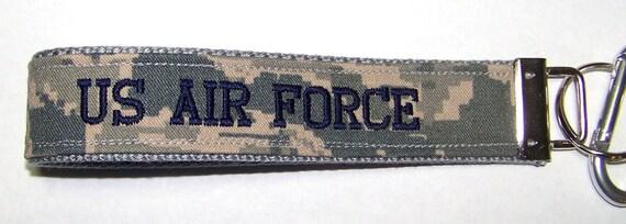Personalized Air Force ABU Embroidered Custom Key Fob, Wristlet Key Chain, Luggage Tag, Military Key Fob
