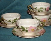 FOUR Franciscan Desert Rose Teacups and saucers