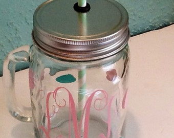 Mason Jar Drinking Glass with Handle with Monogram and Polka Dots