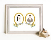 Though Very Humble : Custom Sweethearts Bride Groom Cameo Pair 8x10 Portrait Illustration