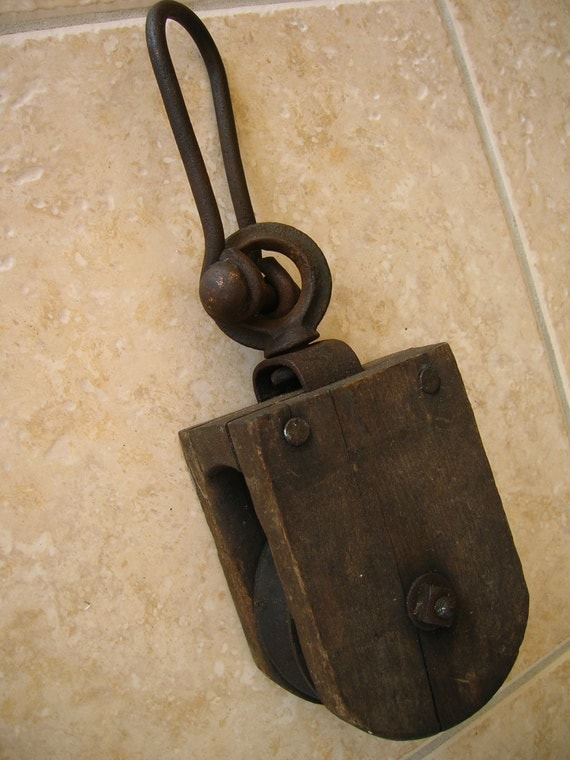 Pulleys And Blocks For Sale : Vintage primitive wood block and tackle pulley by