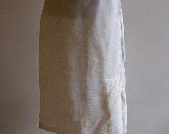 Vintage Long and Lean Cream Linen Spring Vacation Resort Skirt- Small 2/4