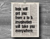 book page dictionary art print poster logic quote typography vintage decor inspirational motivational logic albert einstein